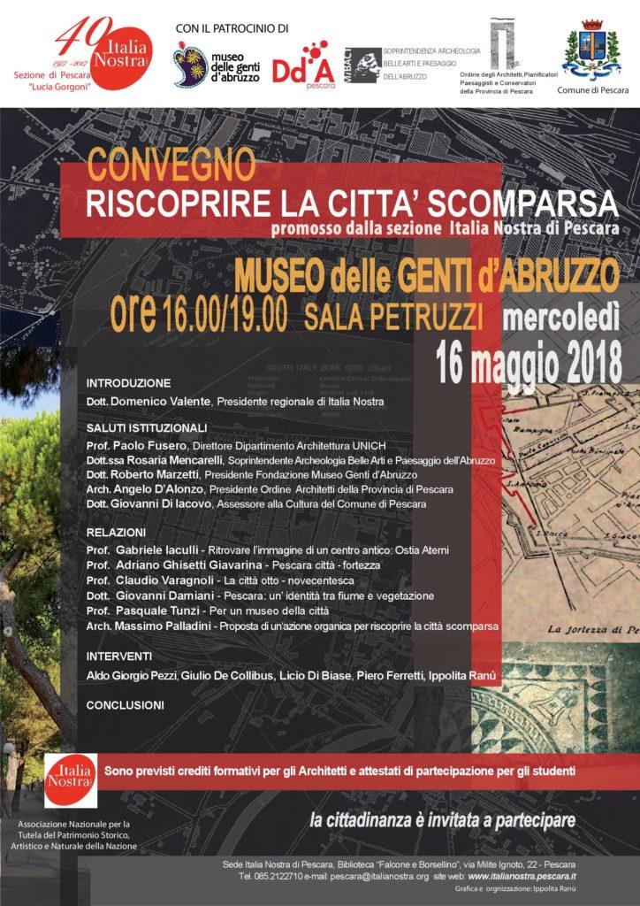 1122 - ............Pescara Scomparsa 16 maggio 2018 IN INVITO
